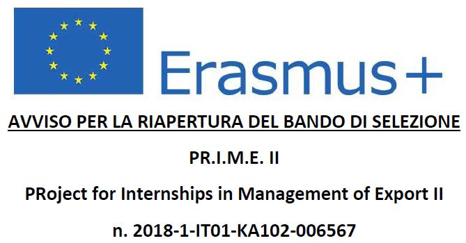 PRoject for Internships in Management of Export II - riapertura bando di selezione.