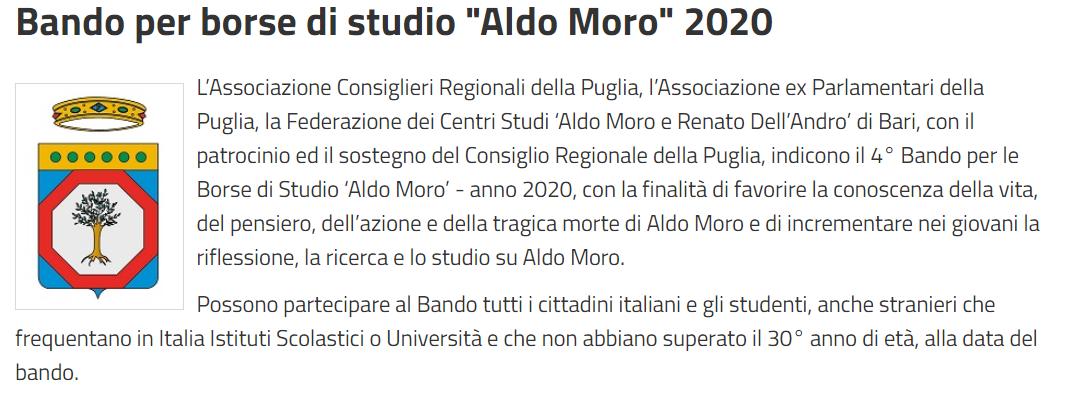 """Bando per borse di studio """"Aldo Moro"""" 2020"""